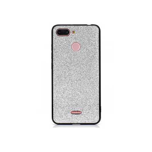 Чехол Xiaomi Redmi 6, силикон, с блестками серебристый