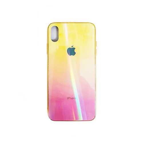 Чехол Apple iPhone X/XS, силиконовый, хамелеон светло-желтый+бордовый