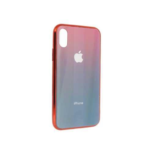 Чехол Apple iPhone X/XS, силиконовый, хамелеон красно-синий