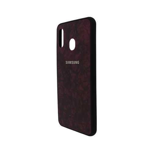 Чехол Samsung Galaxy A20 (2019) силикон, мрамор красный