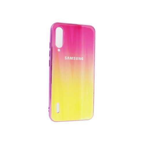 Чехол Samsung A50, силиконовый, хамелеон розовый-желтый