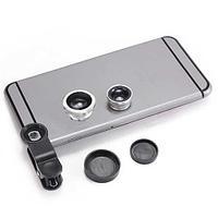 СНЯТО С ПРОДАЖИ Макрообъектив для смартфонов Fish-eye(Рыбий глаз) 3в1, цвет серый