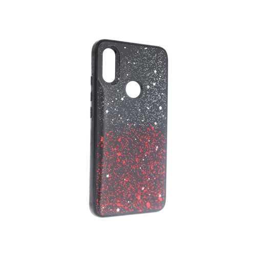 Чехол Xiaomi Redmi 7, силиконовый с блестками черный-красный