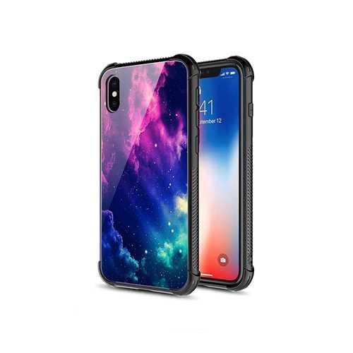 Чехол WK Apple iPhone X, силикон-стекло, фиолетовый космос