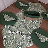 Ткань с растительным принтом и с тефлоновой пропиткой для скатертей, фартуков, подушек, уличных штор
