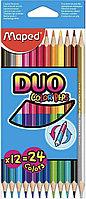 Карандаши цветные Maped Color'Peps Duo двусторонние, 24 цвета