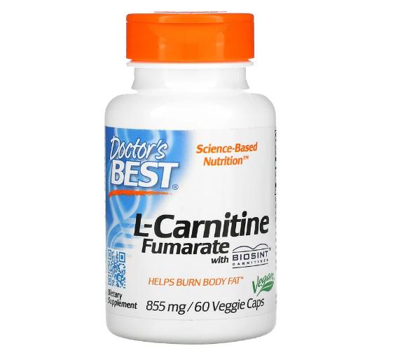 Doctor's Best, L-карнитин фумарат с карнитинами Biosint, 855 мг, 60 вегетарианских капсул