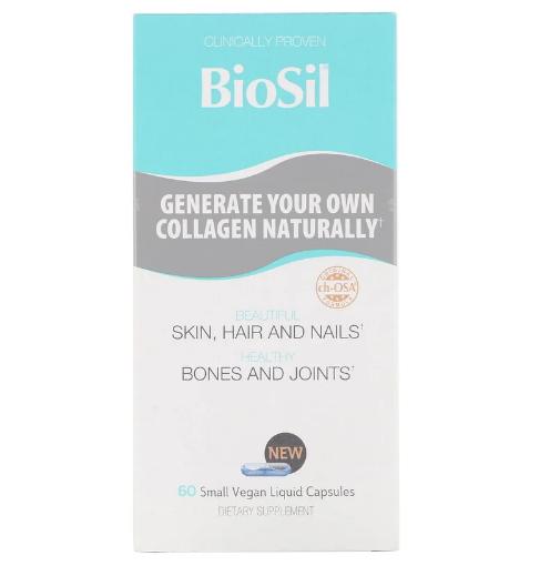 BioSil by Natural Factors, Улучшенный источник коллагена, 60 небольших вегетарианских капсул, заполненных жидк