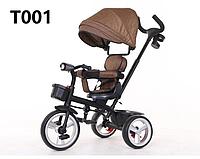 Детский трехколесный велосипед T 001 коричневый