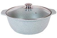 Кастрюля-жаровня 4 литра со стеклянной крышкой, (фисташковый мрамор), фото 1