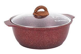 """Кастрюля-жаровня 3 литра со стеклянной крышкой, """"Granit ultra"""" (red)"""
