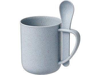 Чашка 420 мл с ложкой Rye из пшеничной соломы, серый