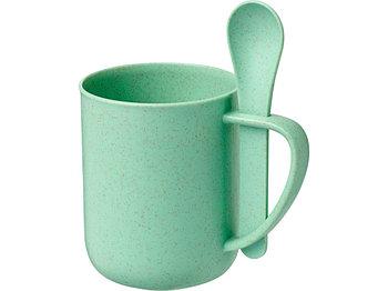 Чашка 420 мл с ложкой Rye из пшеничной соломы,  мятный