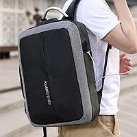 Городской рюкзак с USB выходом, для ноутбука с кодовым замком и светоотражающими элементами 821 серый