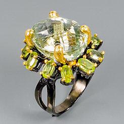 Кольцо с зеленым Аметистом и Хризолитами