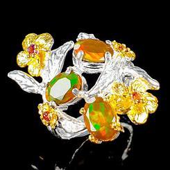 Кольцо с апельсиновыми Опалами