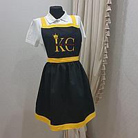 Фартук 305 (с вышивкой логотипа) платье черный с желтым