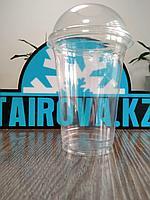 Стакан пластиковый 400мл прозрачный + крышка купол d9,5см 100 штук в уп