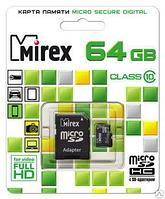 Карта памяти microSD с адаптером MIREX 64GB 10 Класс
