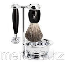Бритвенный набор MUEHLE VIVO, черная смола, натуральный барсучий ворс, Т-образная бритва, чаша