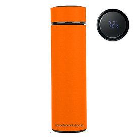 Термос soft-touch, MARK LED Оранжевый