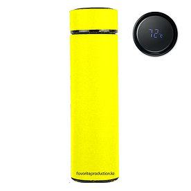 Термос soft-touch, MARK LED Желтый