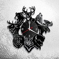 Настенные часы из пластинки интерьерные Звери, в офис, кухню, комнату , прихожую, 1120