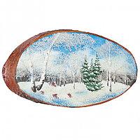 """Панно на спиле дерева """"Зима"""" горизонтальное 35-40 см"""