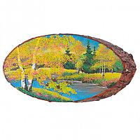 """Панно на срезе дерева """"Осень"""" горизонтальное 35-40 см"""