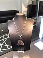 """Подвеска с цепью """"Пирамида"""" с бриллиантом из серебра, фото 1"""