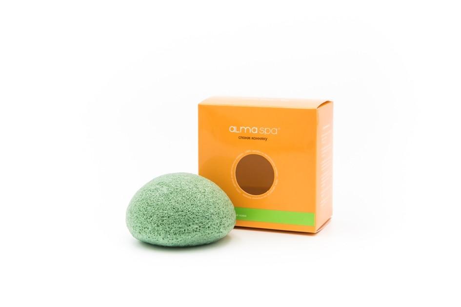 Спонж конняку зеленый для сухой и чувствительной кожи  AlmaSpa