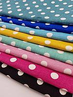 Ткань с принтом в горох и тефлоновой пропиткой для скатертей, фартуков, подушек, штор,обивки
