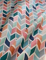 Ткань с принтом зигзаги и тефлоновой пропиткой для скатертей, фартуков, подушек, штор,обивки