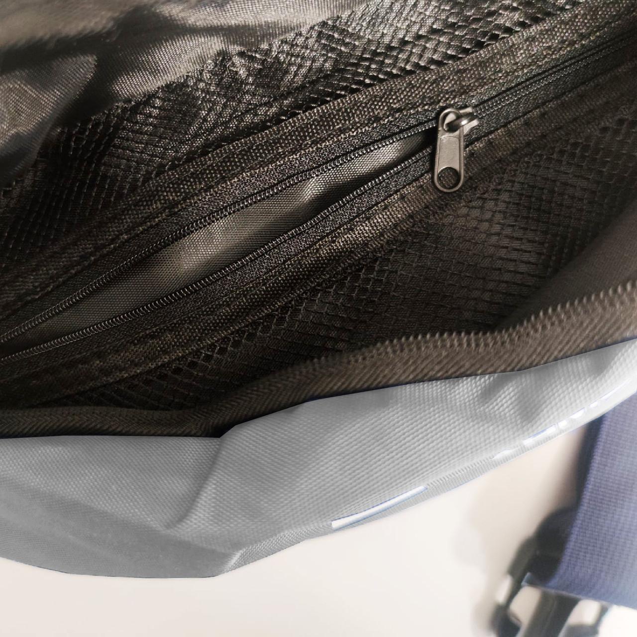 Сумка поясная с двумя карманами 707 серая - фото 5