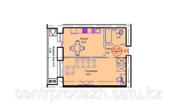 """1 комнатная квартира в ЖК """"Сапсан"""" 43.84 м²"""