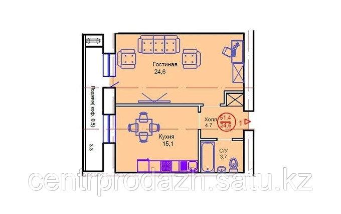 """1 комнатная квартира в ЖК """"Сапсан"""" 51.4 м²"""