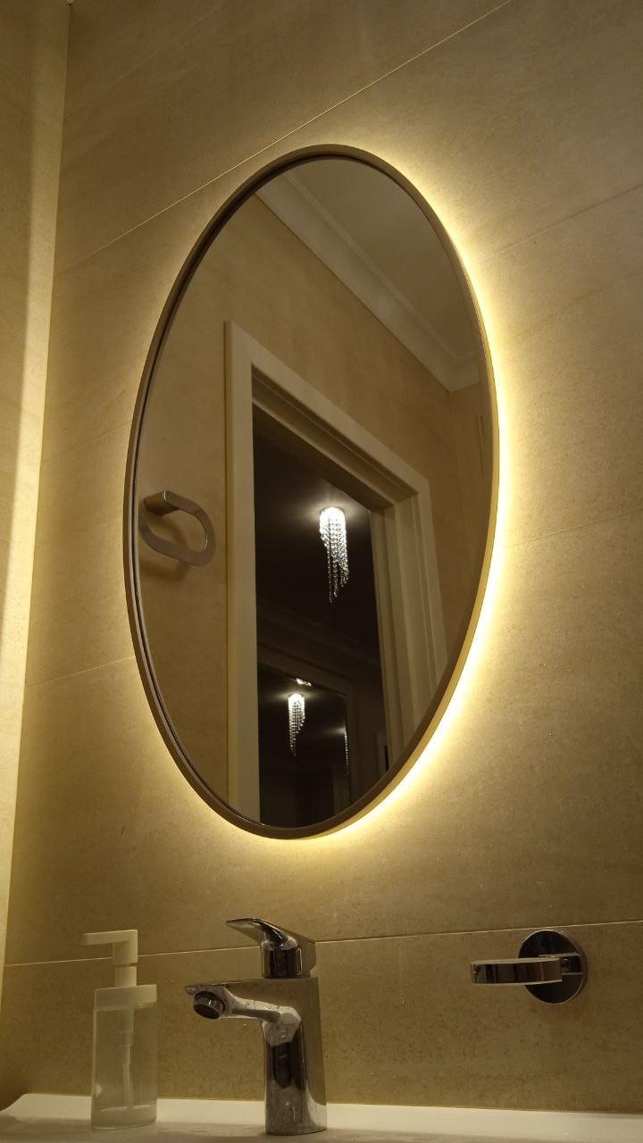 Овальное зеркало в деревянной раме ARGO, 10 мм, с парящей подсветкой, 850х500мм