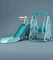 Детский комплекс с горкой и качелей машинка бирюза