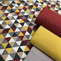 Ткань с геометрическим принтом и с тефлоновой пропиткой для скатертей, фартуков, подушек, уличных штор