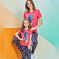 Пижама детская девичья 4/104 см, Малиновый