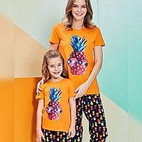 Пижама детская девичья 4/104 см, Оранжевый