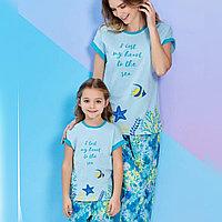 Пижама детская девичья 6/116 см, Голубой
