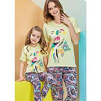 Пижама детская девичья 5/110 см, Лимонный