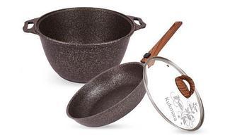 """Набор кухонной посуды, сковорода и кастрюля с крышкой """"Granit ultra"""""""
