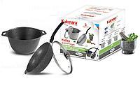 Набор кухонной посуды, сковорода и кастрюля с крышкой (темный мрамор)