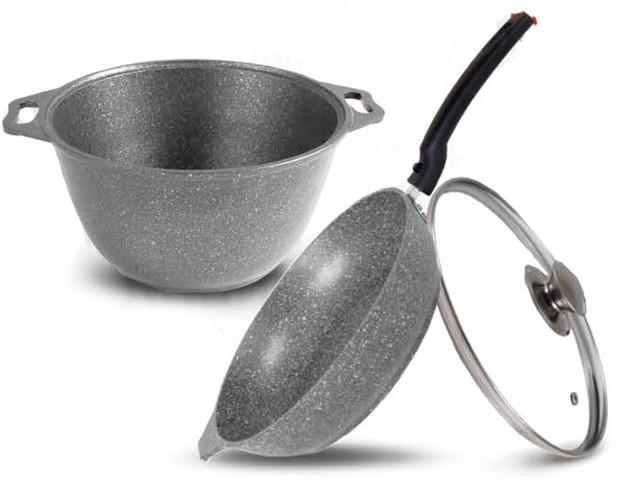 Набор кухонной посуды, сковорода и кастрюля с крышкой (светлый мрамор)