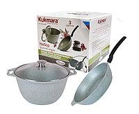 Набор кухонной посуды, сковорода и кастрюля с крышкой (фисташковый мрамор), фото 1