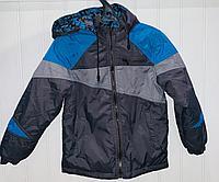 Куртка серая-синяя мозайка двухсторонняя демисезонная (8-9 лет)