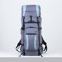 Рюкзак туристический, 120 л, отдел на шнурке, наружный карман, 2 боковых сетки, цвет синий/серый