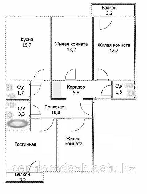 """4 ком в ЖК """"Самгау 2"""". 96 м²"""